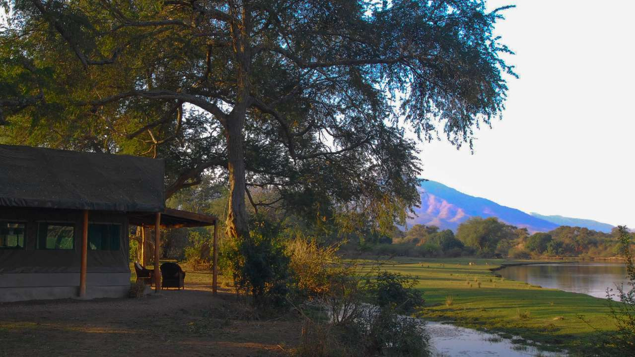 Outside View of River from Tent, Chongwe River Camp, Lower Zambezi, Zambia