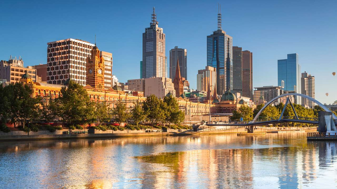 Skyline Towards Filnders Street Station, Melbourne, Australia
